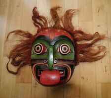 More details for hand carved north american indian idaho tribal wooden mask large.