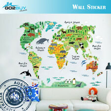 Wall Stickers Removable World Animals Map Living Room Decal Picture Art Kids
