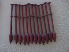 "12 Binche style Bobbin Lace Bobbins, purpleheart wood about 3 7/8 "" long."
