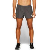 Asics Mens Silver Split Running Shorts Pants Trousers Bottoms Grey Sports