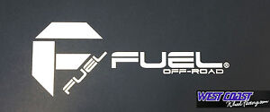 """FUEL OFFROAD 2 Piece Decal Vinyl Cut 12"""" WIDE and 8x8"""" FUEL Sticker Decal WHITE"""