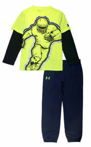 Under Armour Boys Football Dry Fit Top 2pc Jogger Pant Set Size 5