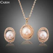 Pearl Surround with Clear CZ Gold Pendant Necklace and Drop Earrings Jewelry Set