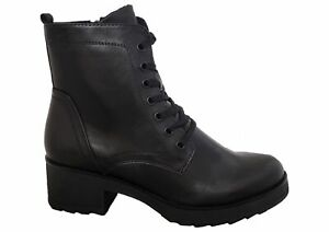 Womens Ladies Marco Tozzi Black Chunky Military Style Lace Zip Up Boots Size 3-8