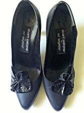 Stuart Weitzman women shoe black leather high heel snake skin pump size 7M
