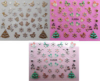 Christmas Nail Art Stickers Gold & Silver Snowflakes Xmas Tree Bows Baubles