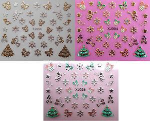 Christmas Nail Art Stickers Gold & Silver Snowflakes Xmas Tree Bows Baubles