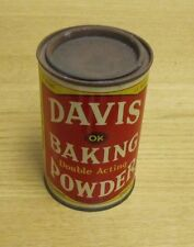 Vintage Davis Double Acting OK Baking Powder 12 Ounce Tin Can Hoboken New Jersey