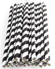 250 Paper Straws- Black And White- Cheapest On Ebay - Halloween- Bulk