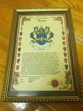 Stryker Family History Plaque Frame w/Coat of Arms Crest Picture. App 12 x 18