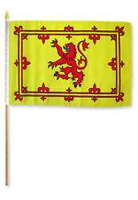 "12x18 12""x18"" Wholesale Lot of 3 Scotland Lion Stick Flag wood Staff"