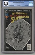 ADVENTURES OF SUPERMAN #498 CGC 9.2 WPGS FUNERAL FOR A FRIEND SUPERGIRL APPR
