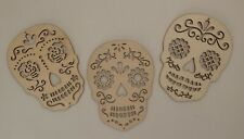 Ready To Paint! 3 Halloween Calavera Wooden Sugar Skulls Dia De Los Muertos 6""