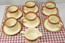 Lot of 6 Wedgwood Sahara Oven to Table Tea Cups and Saucers, bonus creamer Exc +