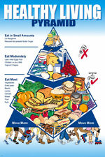 healthy LIVING food PYRAMID ad POSTER 24X36 NUTRITION educational DETAILED - YY1
