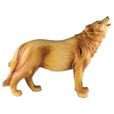 Howling Wolf Faux Carved Wood Look Figurine Resin 7 Inch High New In Box