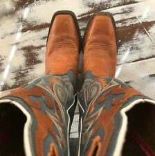 Tony Lama 3R Buckaroo Leather Cowboy Boots Brown Blue Women's Size 7 EUC!