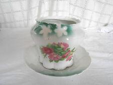 Porcelain cracker, biscuit jar, green w/ pink roses, & bowl Germany