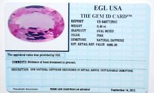 0.48ct pink sapphire natural oval APPRAISED VALUE $695.00  INCLUDES ID CARD