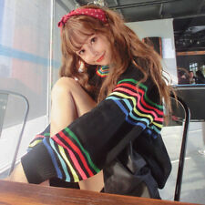 Women Knitted Sweater Lady Rainbow Stripe Crew Neck Casual Pullover Tops Jumper