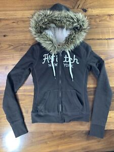 Abercrombie & Fitch Sz XS Fur Lined Hoodie Jacket Sherpa Lined Brown Tween Teen