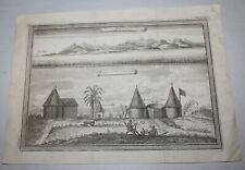 ANTIQUE Print c1735 SIERRE LEONE / HOUSES AT SIERRE LEONE Africa