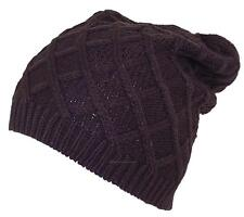 D&Y Rib Stitch Diamond Pattern Slouchy Knit Beanie, Toboggan, Snow, #846 Brown
