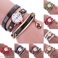 Hot Women's Watches Ladies Charm Wrap Around Leather Quartz Bracelet Wrist Watch