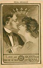 "Love a Royal Arcanum Man"" Rare Antique Advertising—Crown British 1910"