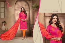 Designer Churidar Salwar Kameez Suit Cotton Dress Material Chanderi Work AKIRA01
