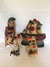 VINTAGE LOT CARNIVAL CHALKWARE GNOME ELF DOG SHIP BOAT