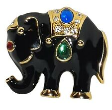 Black Bejeweled Elephant Pin Brooch Bollywood East India Style Gold Tone Vintage