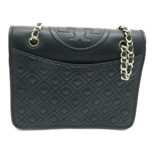 Auth Tory Burch Chain Shoulder Bag Calfskin Leather 8372