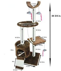 Cat Tree Tower Pet Furniture Scratching Post Play House Tree Tower Condo NEW