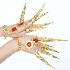 2 PCs Set Belly Dance Accessories Peacock Nails Bracelet Finger Cot Thai Golden