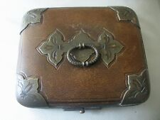 Antique Fleur De Lis Hardware Leather Jewelry Presentation Case Box Purse