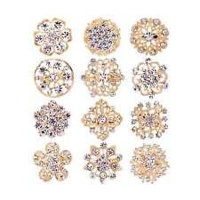 12Pcs/Lot Gold DIAMANTE FLOWER PIN BROOCH WEDDING BOUQUET BRIDAL CAKE ART BROACH