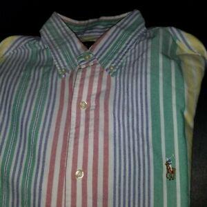 Ralph Lauren Classic Fit Striped Shirt button collar  Red Blue yellow L