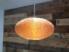 LARGE RETRO 60S 70S RIBBED PLASTIC / FIBREGLASS CEILING LIGHT CRACKLE LAMP SHADE