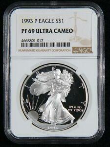 1993-P Silver Eagle S$1 NGC PF 69 Ultra Cameo