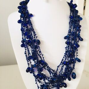 Statement Blue Glass Bead Multi Strand Cluster  Twisted Necklace Boho Arty