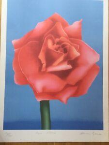 Adrian George Print Pychedelic 60s Signed botanical poster Rose Pop Art  Ltd Ed