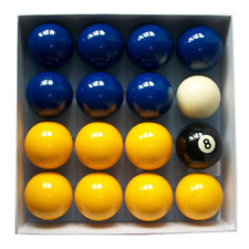 "Blue And Yellow Standard 2"" Pool Balls Pub Grade (16 Piece) with 1 7/8"" Cue Ball"