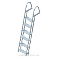 """6-Step Angled Stationary Dock Ladder with 5"""" Extra Wide Steps Aluminum"""