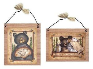Bathroom Bear Pictures Rustic Lodge Log Cabin Wall Hangings Primitive Plaques