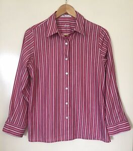 WOMENS 'FOXCROFT' Size 8 P RED BLUE WHITE PINSTRIPE WRINKLE FREE BUTTON UP SHIRT