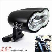 Custom Billet Black Dual Headlight Oval Fit Harley Motorcycle Streetfighter Cafe