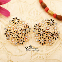 Sparkly Geometric Full Inlaid Flowers Clear Rhinestone Crystal Clip On Earring