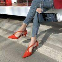 Womens Fashion Suede Leather Pointed Toe Crossover Strap Kitten Court Shoes SKGB