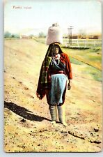 POSTCARD  NEW MEXICO nm WATER CARRIER NATIVE pueblo hand dated 1909